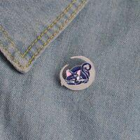 Unisex Enamel Lovely Moon Blue Cat Pattern Pin Brooch Fashion Jewelry Badge
