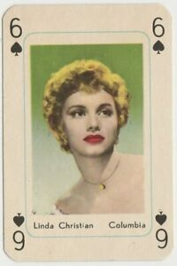 Linda Christian vintage 1950s Maple Leaf Playing Card of Film Star