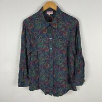 VINTAGE Taylor Maid Womens Blouse Top 18 Slim Multicoloured Paisley Long Sleeve
