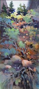 """Joyce Lee-Petersen """"Odyssey"""" Hand Signed Original Watermedia Painting of plants"""