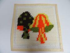 Finished Needlepoint Quickstitch Mushrooms Retro Vintage Orange Brown 6.5 Inch