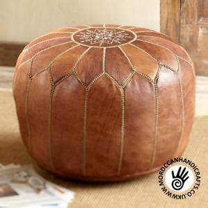 Handmade leather Moroccan pouffe - unstuffed