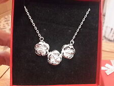 stamped waterlily necklace Gift Box Brand new small Silver plated 925