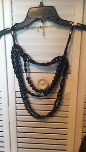 "$89 Chico's Dark Blue Chunky 5 Strand Beaded 15"" Necklace"