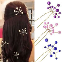 KE_ HD_ FT- Simple Wedding Bridal Bridesmaid Faux Pearls Hair Pins Clips Comb