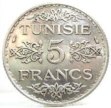 TUNISIA (Ahmad Pasha BEY) 5 Francs-AH 1355