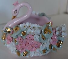 Vintage Lefton Pink White Smaller Flower Bowl Dish Gold