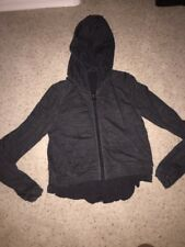 Lululemon Sattva Crop Jacket Hoodie Merino Wool tencel ruffle Black GrAy