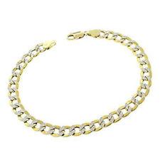 Mens Ladies 10k 100% Real Genuine Gold Pave 3.5mm Bracelet Anklet Cuban Curb New
