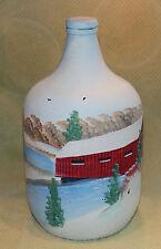 Artist GFS Vtg Hand Painted Gallon Jug Glass Wine Bottle Winter Covered Bridge