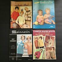 Lot 4 Knitting Pattern Books Vintage 1960s 1950s Knit Spinnerin Bernat Sweaters