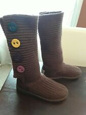 UGG Knitted Sweater Socks Brown Boots w/ Colorful Buttons Sz 4 EUC