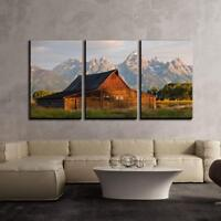"Wall26 - Wood Hut in Front of Mountains - CVS - 16""x24""x3 Panels"