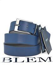 ARMANI JEANS Cintura Uomo Double Face  blu / grigio 100% pelle fibbia in metallo