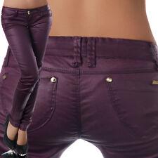 N803 Damen Jeans Hose Hüfthose Damenjeans Hüftjeans Röhrenjeans Leder-Optik