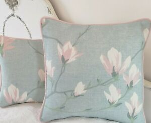 """Laura Ashley Magnolia Grove Duck Egg Fabric Cushion Cover Pink Piped 16"""""""