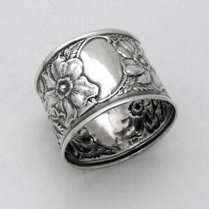 Repousse Floral Napkin Ring Sterling Silver No Mono