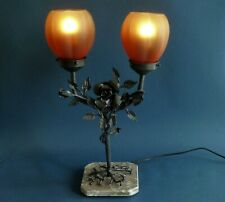 Art Deco  wrought  iron double table lamp L. Van Boeckel
