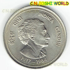 Very Scarce 1984 INDIRA GANDHI Copper Nickel BIG 5 Rupees UNC Commemorative Coin