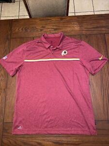Large Nike Dri-Fit NFL On-Field Washington Redskins Polo Shirt Football Team Red