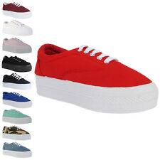 New Womens Lace Up Casual Canvas Platform Trainers Creepers Pumps Shoes Size 3-8