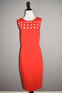 AKRIS PUNTO NEW $1190 Dot Applique Ponte Stretch Sheath Dress Size 10