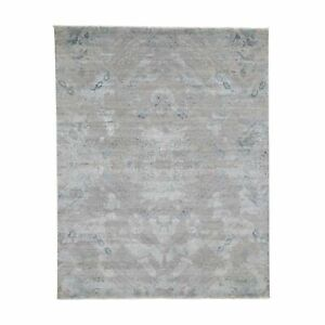 8'x10' Gray Pure Silk With Geometric Design Hand-Knotted Oriental Rug R45849