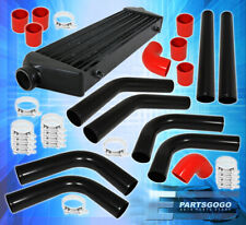 8 Piece Piping Kit + Turbo Fmic Front Mount Intercooler + Silicone Couplers Red