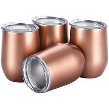 4pcs Stemless Wine Tumbler 12Oz Stainless Steel Wine Glass Cup w/ Lids Rose Gold