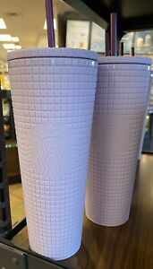 Starbucks Siren Lilac Lavender Purple Studded Diamond Grid Cold Cup Tumbler