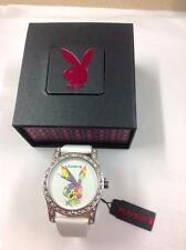 PLAYBOY LADIES WHITE DIAL WITH PRINTED LOGO WHITE PU LEATHER BAND WATCH