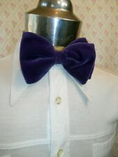 Vintage 1960s 70s Purple Velvet Strap On Adjustable Bow Tie Prom Formal Vegas