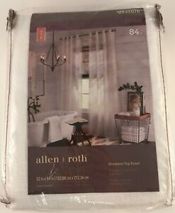 """Allen + Roth Palma 84"""" White Polyester Grommet Top Panel Curtain #0939076"""