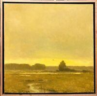 Framed 20x20 Gold Twilight Impressionism wetlands Landscape Art Oil Painting