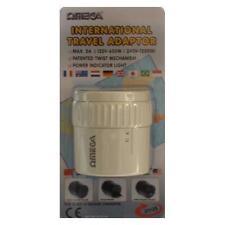Omega 21125 Travel Adaptor 3 Pin UK to Worldwide Europe USA Canada Australia NZ