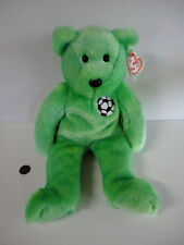 "NEW 1998 Ty KICKS Soccer Ball  Green Teddy Bear Plush Beanie Babies 9"" NWT!"
