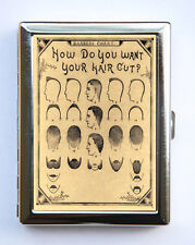 Retro Barber Cigarette Case Wallet Business Card Holder victorian illustration