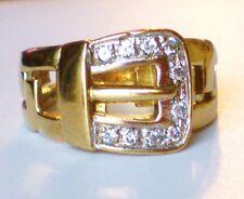 Men's European 9K 375 Gold Created Diamond Belt Buckle RING 9kt 9.5 grams