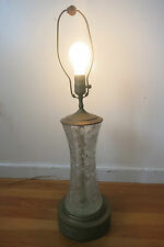 VINTAGE CLEAR GLASS TABLE LAMP - METAL BASE ETCHED CUT GLASS