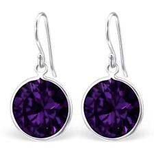 Sterling Silver 15mm Round Drop Earrings AMETHYST Cubic Zirconia - Gift Boxed