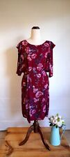 Women's Dress Tokito Maroon Floral Viscose Size 12