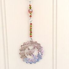 Handmade Crystal Glass & Stainless Steel Hanging For Home 8 Inch