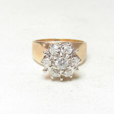 Estate 14K Yellow And White Gold 0.16 Ct Brilliant Cut Diamond Ring 0.55 Cts TW