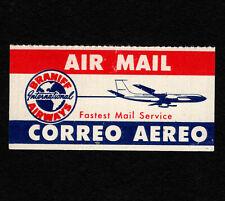 """Opc Vintage Braniff Airways International 2"""" Etiquette Label 35371"""