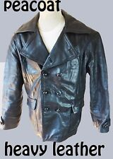 Pea Coat biker motorcycle heavy leather small medium black double breasted real