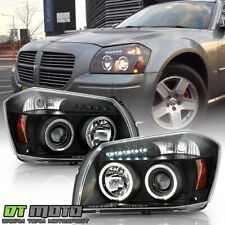 Blk 2005 2006 2007 Dodge Magnum Led Halo Projector Headlight 05 06 07 Left+Right (Fits: Dodge)