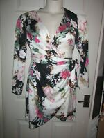 BNWT UK 12 LIPSY Dress £55 Wrap style Long Sleeve Black White Pink Floral Party
