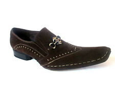Antonio Zengara men's Dress Loafer Stitch Suede Dk Brown Pointy-Toe A401292 RARE