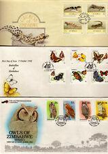ZIMBABWE - FIRST DAY COVERS x 3 = 1993 OWLS - 1992 BUTTERFLIES - 1989 GECKOS -