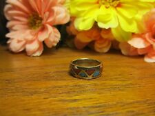 Unisex Turquoise Coral Fashion Band Ring Sz 4